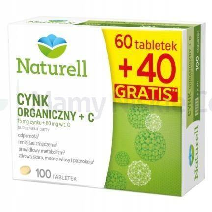 Naturell Cynk Organiczny + witamina C 100 tabletek